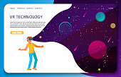VR technology landing page website template. Vector isometric illustration of boy with VR headset in outer space. Virtual reality for education and games concept.