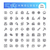 Set of 56 technology line icons suitable for web, infographics and apps. Isolated on white background. Clipping paths included.