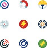 Technology power abstract circle signal wave science logo icons set.