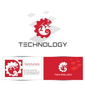 Abstract chameleon icon with business card design template. Can be used for the concept of technology emblem or digital company, industrial engineering.