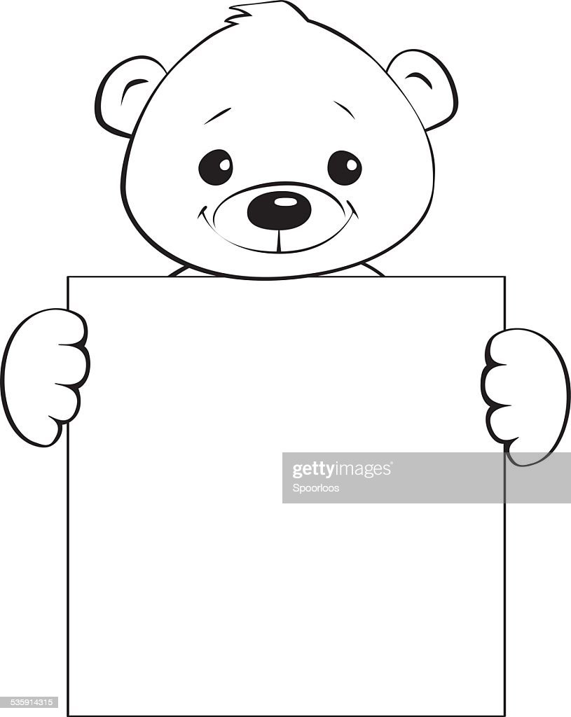 teddy bear holding a blank sign : Vector Art