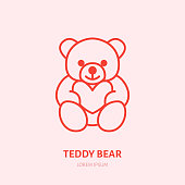 Teddy bear illustration. Plush flat line icon, toy store. Valentines day present sign.