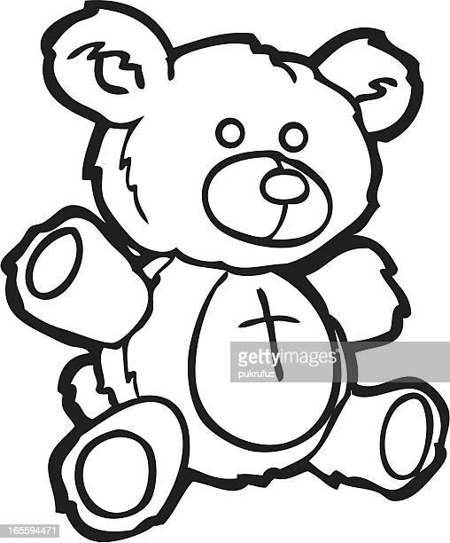 Line Art Bear : Teddy bear stock illustrations and cartoons getty images