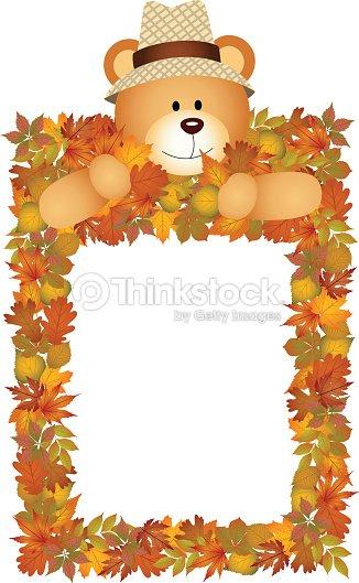 Teddy Bear On The Autumn Leaves Frame Vector Art | Thinkstock