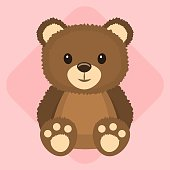 Cute brown bear character, vector illustration.