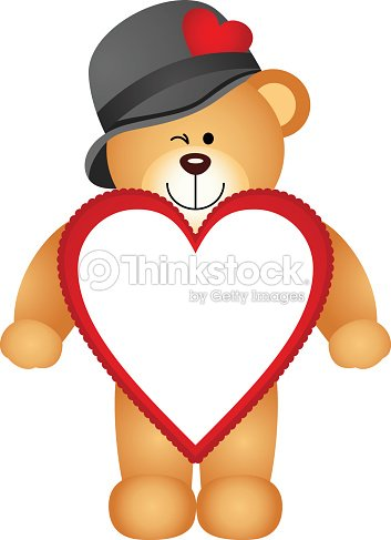 Teddy Bear With Heart Shaped Frame Vector Art | Thinkstock