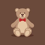 Cute teddy bear with red bow tie on brown background. Funny toy flat illustration.