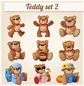 Teddy bears set. Part 2. Cartoon vector illustration