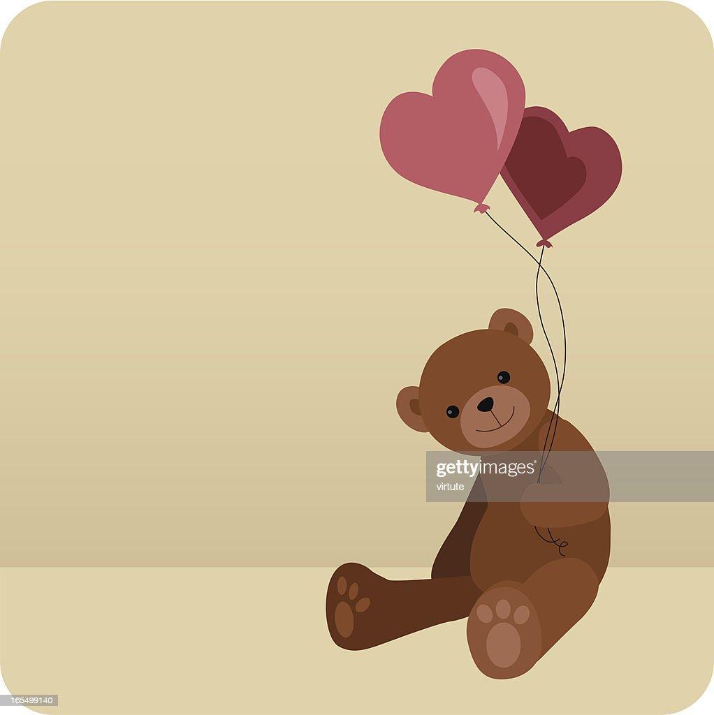 Teddy With Heart Balloons : Vector Art