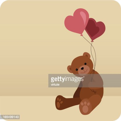 Teddy With Heart Balloons : Vector Art