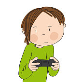 Teenage boy playing video games on game console, holding joystick, being very concentrated. Original hand drawn cartoon illustration.