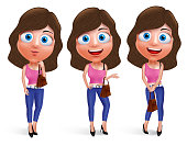 Teenage girl vector characters for fashion with different pose holding handbag wearing jeans and sexy outfit isolated in white background. Vector characters set.