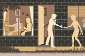 Editable vector illustration of a teenage boy sneaking his girlfriend into his house while his parents watch television
