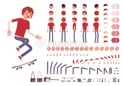 Teenager boy character creation set : stock vector
