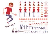 Teenager boy character creation set. Full length, different views, emotions, gestures, isolated against white background. Build your own design. Cartoon flat-style infographic illustration