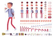 Teenager boy with backpack. Character creation set. Full length, different views, emotions, gestures, isolated against white background. Build your own design. Cartoon flat-style vector illustration
