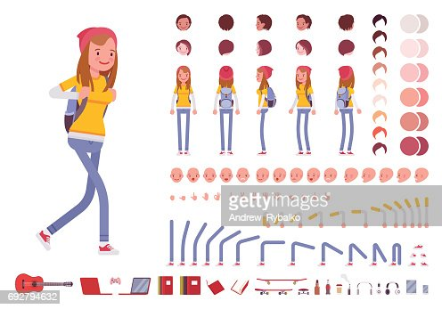 Teenager girl character creation set : stock vector