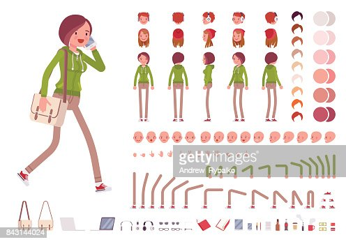 Teenager girl in a hoodie and pants, with shoulder bag. Character creation set : stock vector