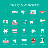 Dentistry, orthodontics flat icons. Colorful flat vector icons of dental clinic services, stomatology, dentistry, orthodontics, oral health care and hygiene, dental instruments.