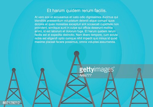 Telecommunications cellular towers in volumetric paper flat style. Data radar background. : Vector Art