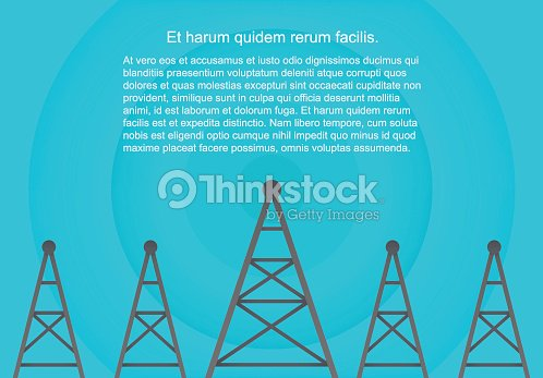 Telecommunications cellular towers in volumetric paper flat style. Data radar background. : stock vector