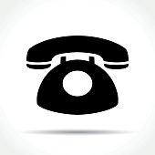 Illustration of telephone icon on white background