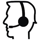 Telephone operator, vector icon, silhouette of head. Black and white profile.