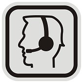 Telephone operator, vector icon, black and gray frame, black silhouette of man with headphones.
