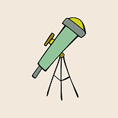 Cute cartoon hand drawn green, yellow telescope. Art poster design. Vector doodle illustration isolated on grey background. Cosmos, galaxy, universe, astronomy