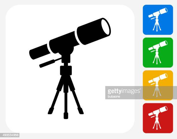 Telescope on Tripod Icon Flat Graphic Design