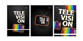television poster set with glitch text and dark color