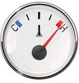 Temperature gauge. Maximum position. Vector illustration on white background