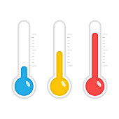 Temperature icons set in flat style. Simple meteorology thermometers measuring heat and cold isolated on white background. Thermometer showing hot, medium and cold weather. Vector illustration EPS 10.