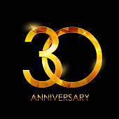 Template 30 Years Anniversary Congratulations Vector Illustration EPS10