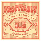 Template advertising banner in retro style of the sixties. Vintage red summer discount sale. Vector illustration.