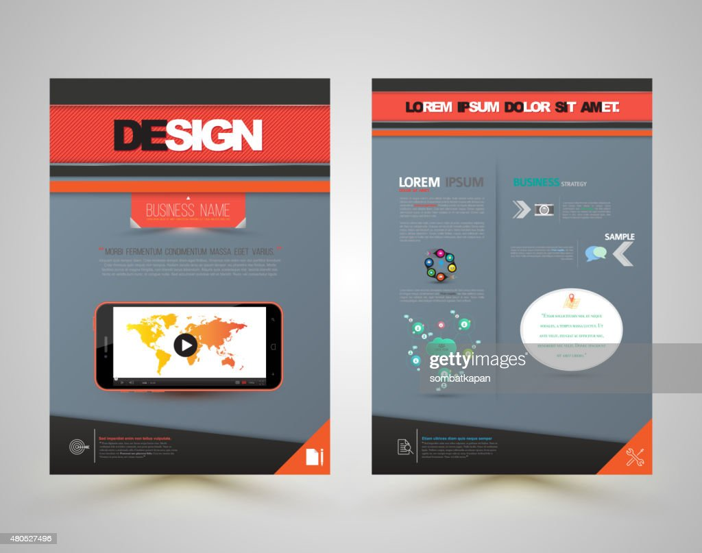 Template cover design front and back with smartphone. : Vectorkunst