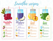 Template design banner, brochure,  flyer with smoothie recipes. Menu with recipes and ingredients for a organic, detox juice. Detox cocktails made from fruits, vegetables and herbs. Vector.