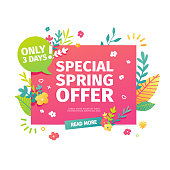 Template design horizontal web banner for spring offer. Advertising poster with a decoration of flowers and leaves frame. Badge for the spring sale in a flat style.  Vector.
