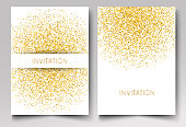 Template design of invitation gold glitter confetti on white background