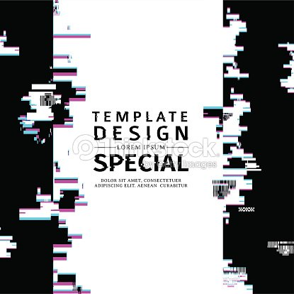 Template Design Vertical Banner Glitch Style Vector