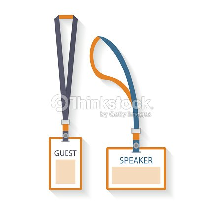 Template Flat Design Icons Of Lanyard And Badge Vector Art | Thinkstock