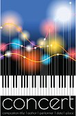 Vector illustration of color flashes on filaments and a piano keyboard. Blending modes used. Editable stroke.