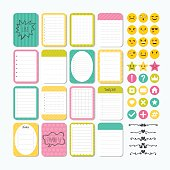 Template for notebooks. Cute design elements. Notes, labels, stickers, smile emoji. Flat style. Collection of various note papers. Vector illustration