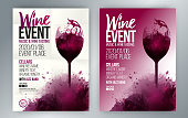 Template for poster, invitations, promotions and wine events. Vector illustration