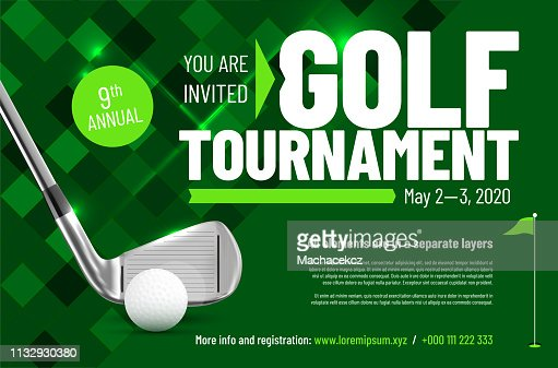 Template for your golf tournament invitation with sample text : stock vector