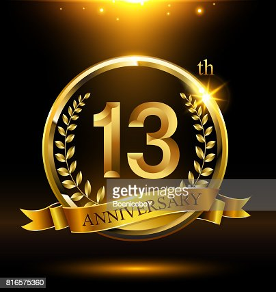 Template golden 13th icon anniversary with ring and laurel branches on dark background : stock vector