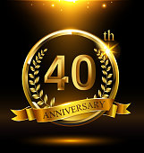 Template golden icon anniversary with ring and laurel branches on dark background