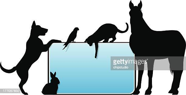 Template graphic for signage with silhouettes animals