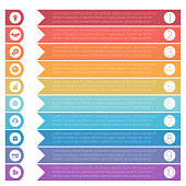 Template infographics from colorful hrizontal arrows for 10 positions.