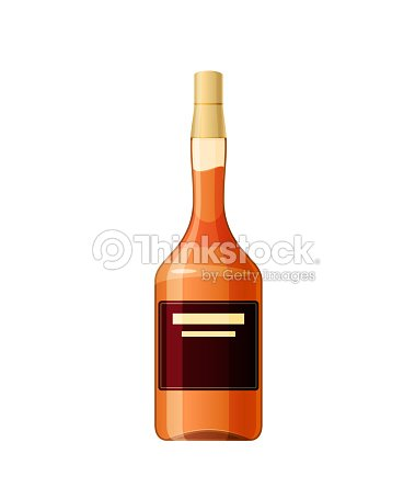 Template Layout Empty Glass Bottle Of Calvados Alcohol Drink Vector Art
